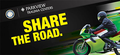 Share the Road graphic with motorcycle