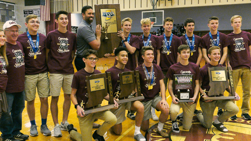 Concordia celebrates state champion boys cross country team