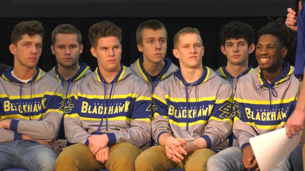 Braves faithful show support to Blackhawk Christian boys hoops team before state finals