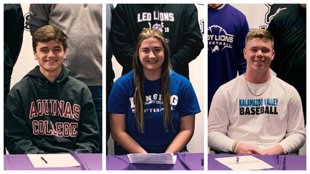 3 Leo Lions sign on to college athletic plans